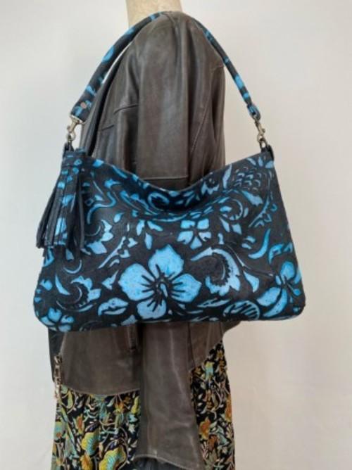 クラッチバッグOFUKUROSAN KARA社 Hawaiianブラックブルー