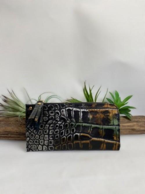 お買い得!!L字薄型長財布 イタリアKARA社  ブラック・シルバー