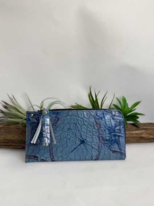 SALE!!L字薄型長財布 イタリアKARA社新作 クロコダイル型押しトンボ