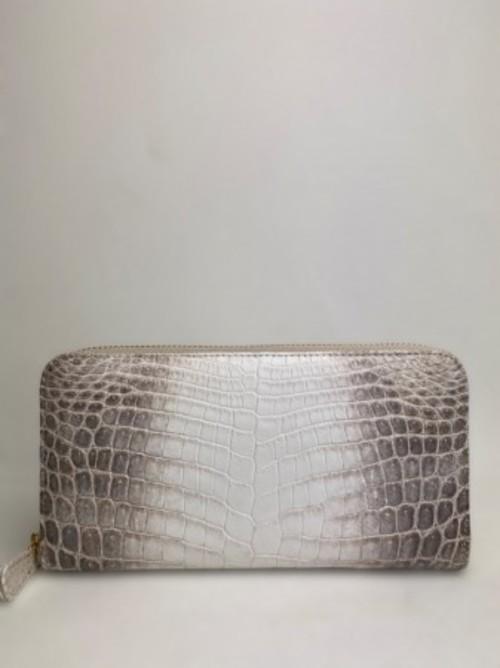 三方ファスナー長財布 一級品ナイルヒマラヤクロコダイル 装丁紫オーストリッチ