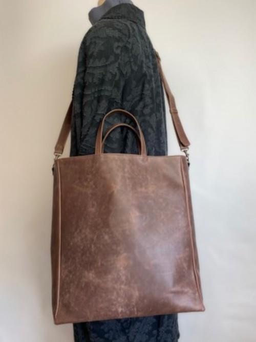 メンズにもオススメ!国産上質タンニン革 2WAY紙袋型トート ブラウン