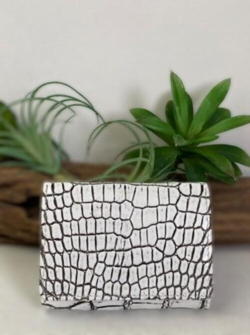 三つ折り財布 クロコダイル バニラクロコダイル