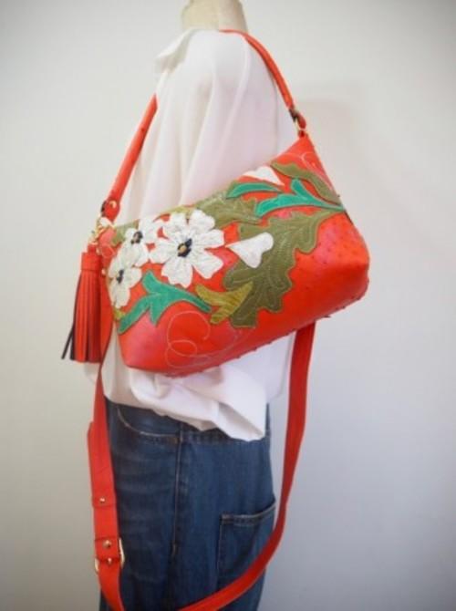 アウトレット!オーストリッチWファスナー2WAY BAG パプリカオレンジ白花