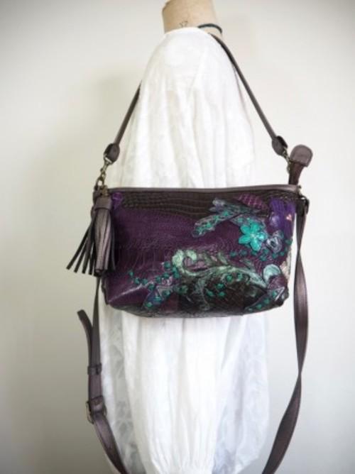新型CHANAO中 紫オーストリッチレッグ クロコ森のパッチワーク