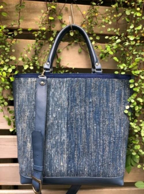 骨董藍染裂織り2wayトートバッグ ◯AKI